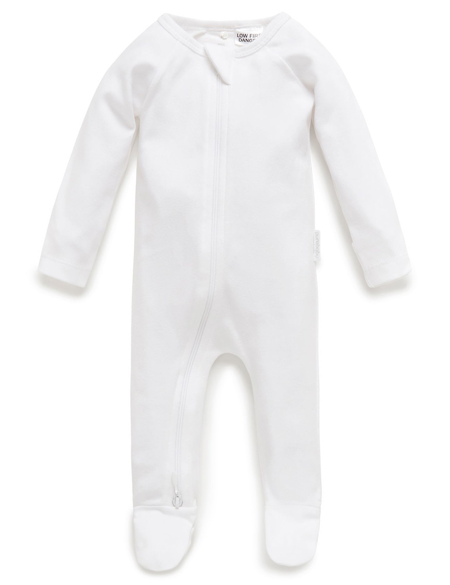 Purebaby White Zip Growsuit