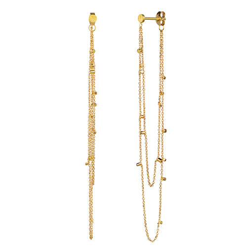 Long Double Drape 18ct Yellow Gold Dust Chain Single Earring