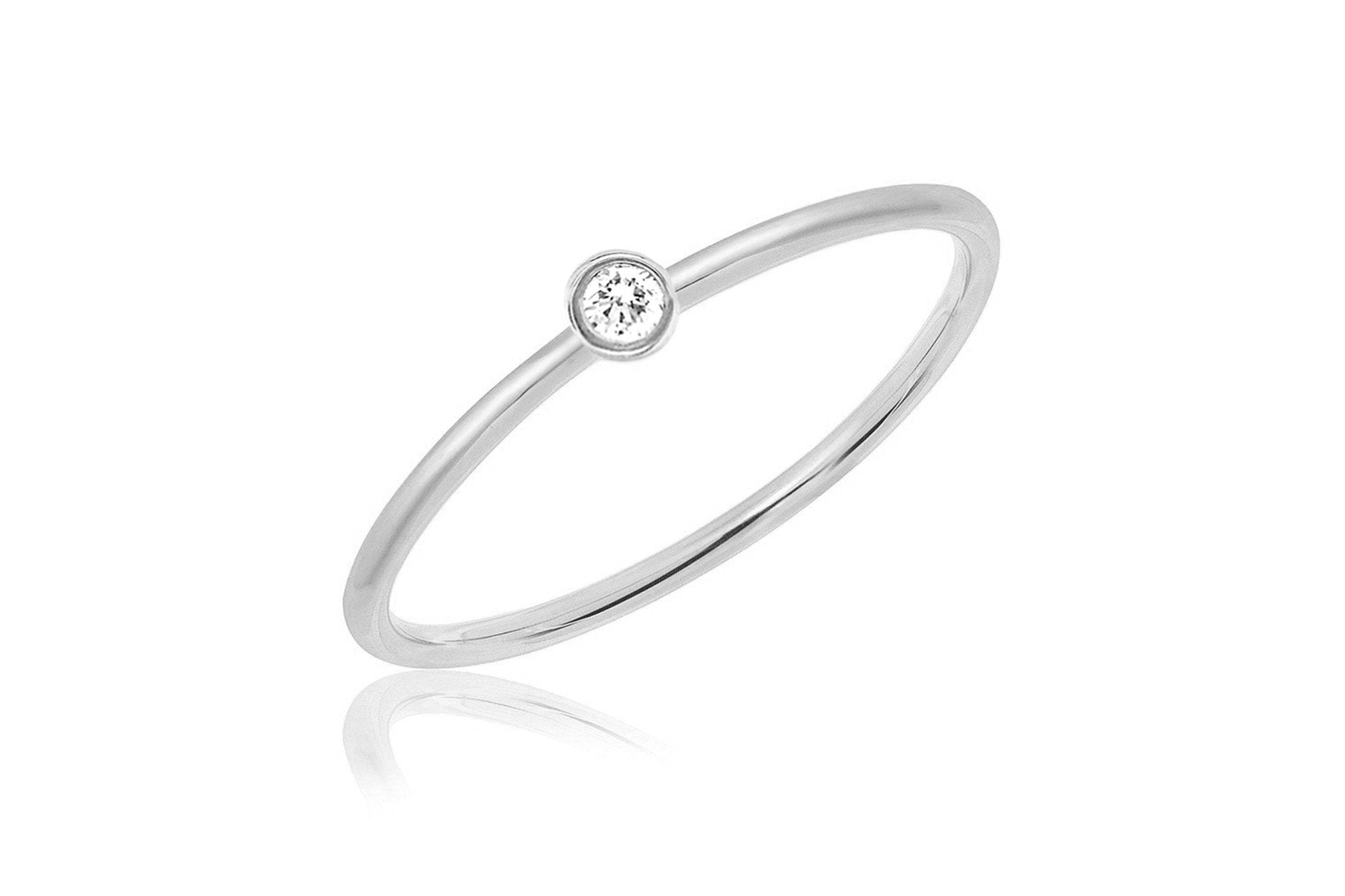 EF Collection DIAMOND SINGLE BEZEL STACK RING