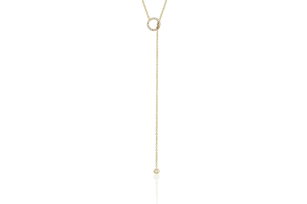 EF Collection DIAMOND OPEN CIRCLE ADJUSTABLE LARIAT NECKLACE