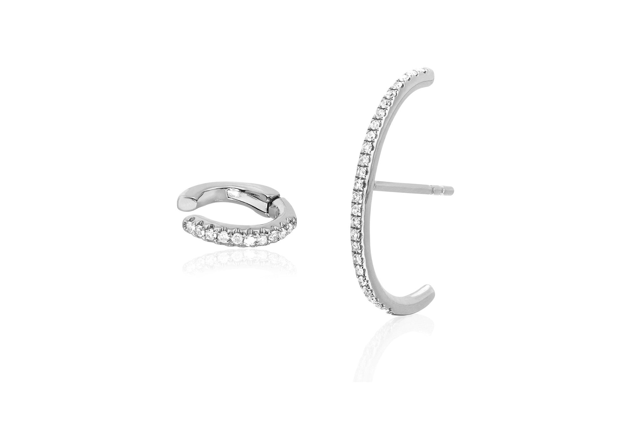 EF Collection SINGLE DIAMOND CARTILAGE EAR CUFF & DIAMOND ULTRA HUGGIE EARRING