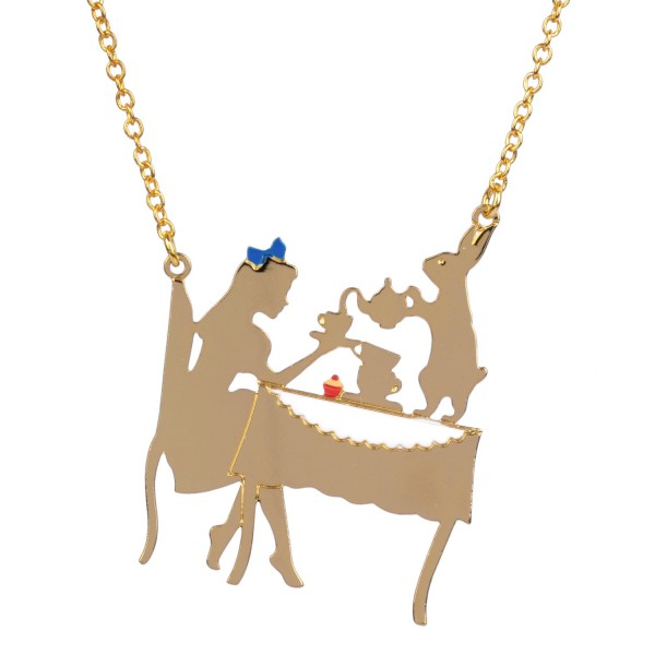 ALICE AND THE WHITE RABBIT HAVING TEA NECKLACE
