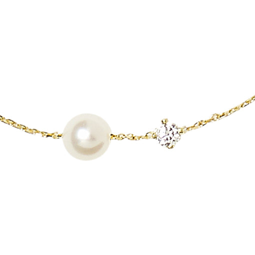 Diamond and Single Pearl 18ct Yellow Gold Bracelet