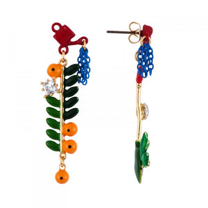 BRANCH OF ORANGE TREE AND SHOVEL EARRINGS