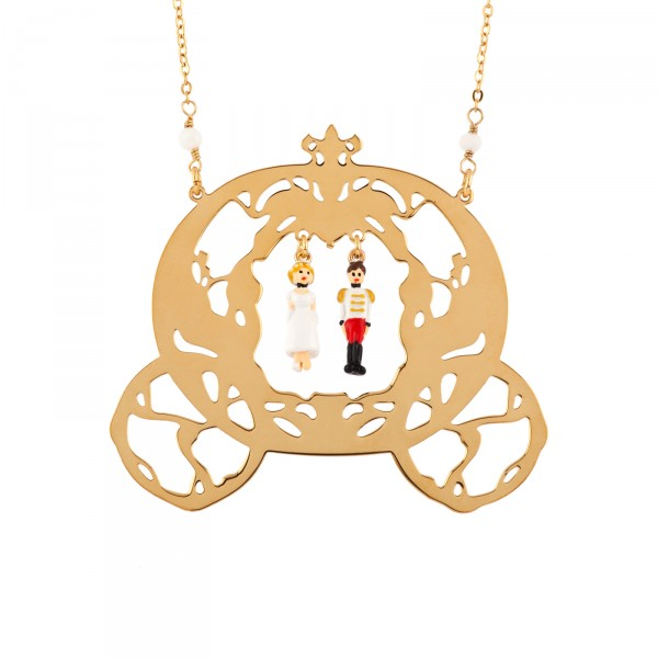 CINDERELLA AND THE PRINCE CHARMING IN THEIR CARRIAGE LONG NECKLACE