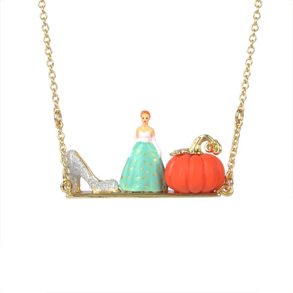 CINDERELLA, GLASS SLIPPER AND PUMPKIN NECKLACE