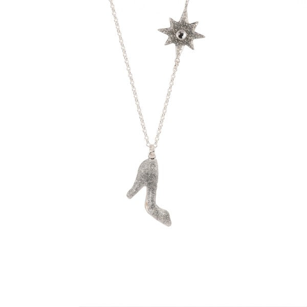 GLASS SLIPPER AND MAGIC WAND LONG NECKLACE
