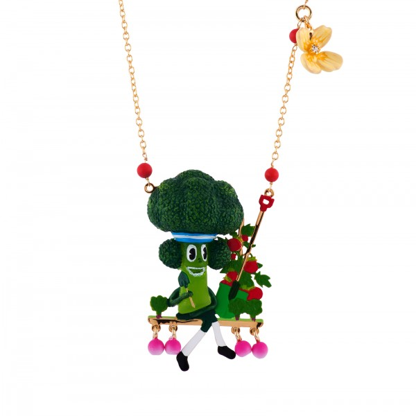SPORTY BROCCOLI ON BENCH OF RADISHED NECKLACE