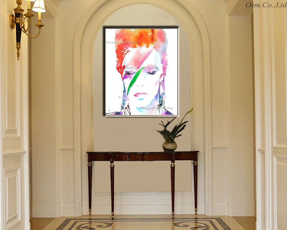 Hand Painted Modern David Bowie Aladdin Sane Wall Art Abstract Oil ...