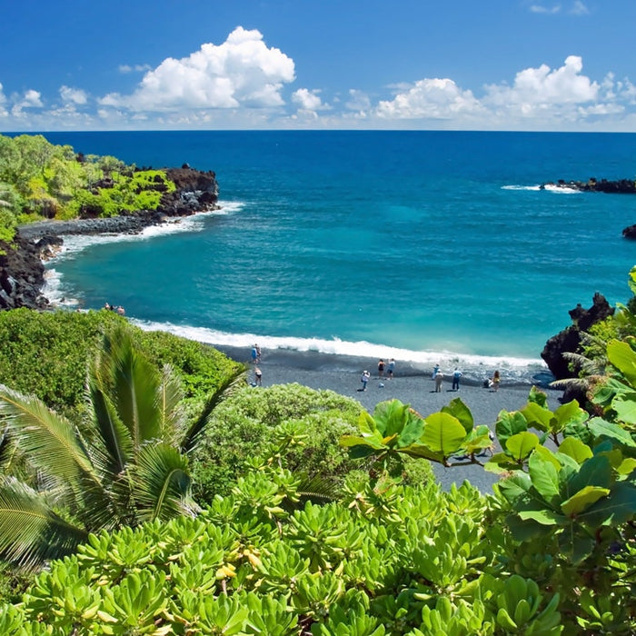Call Royal Taxi (808) 874-6900 to take you to Hana, Wai'anpanapa Bay Beach