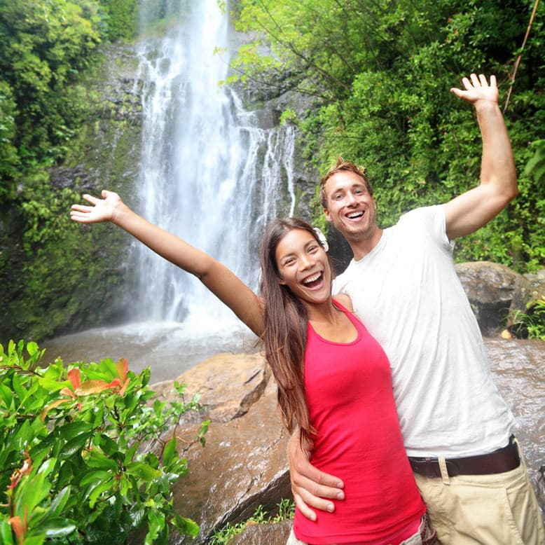 couple at hana waterfall tour