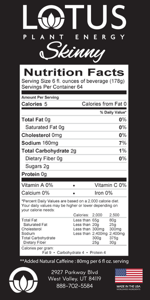 Skinny Red Lotus Energy Concentrate Nutrition facts