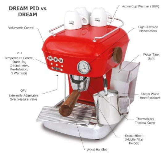 Ascaso Dream PID vs Dream home espresso machine showing differences