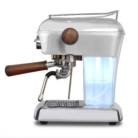 Side view showing water container for Ascaso Dream PID residential espresso machine