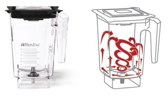 Blendtec Commercial WildSide jar showing blending vortex