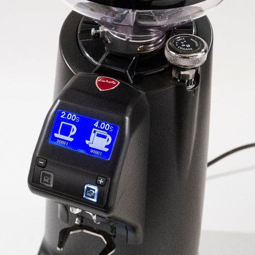 Eureka Olympus 75E espresso grinder showing two dose settings