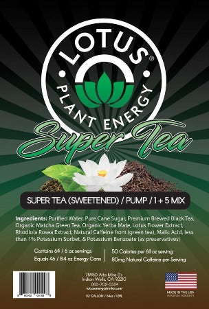 Lotus Energy Tea Concentrate Naturally Sweetened label