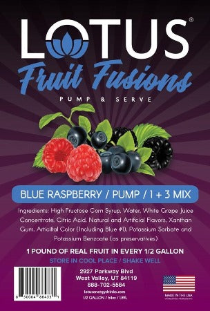 Lotus Blue Raspberry Fruit Fusions label