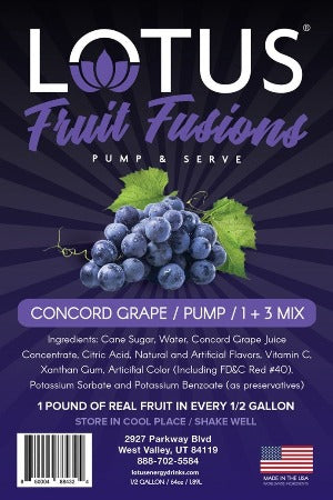 Lotus Fruit Fusions Concord Grape Concentrate label