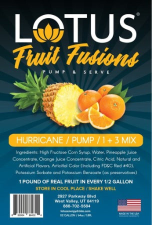 Hurricane Lotus Fruit Fusion Concentrate label