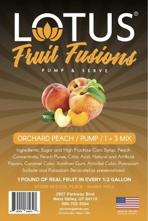 Orchard Peach Lotus Fruit Fusions Concentrate label