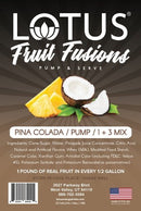 Pina Colada Lotus Fruit Fusion Concentrate label