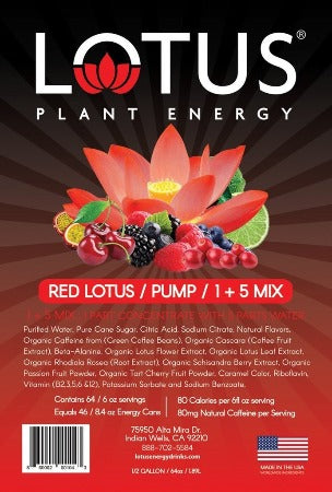 Red Lotus Energy Concentrate flavored drink label
