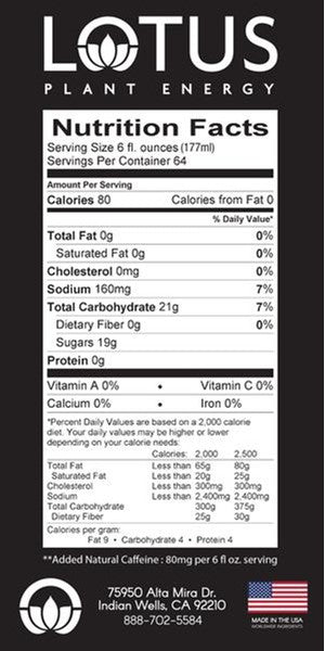 Pink Lotus Plant Energy Flavored Concentrate Nutrition label