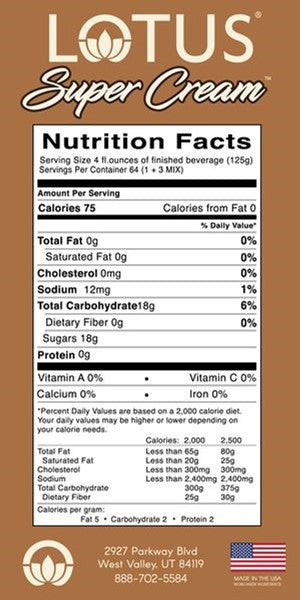 Lotus Super Cream Concentrate Nutrition Facts