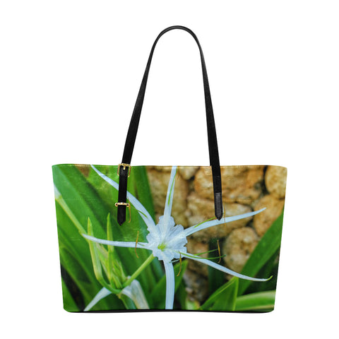 White Spider Lily Leather Tote Bag