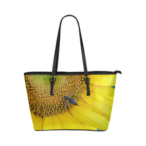 Bee on Sunflower Leather Tote Bag