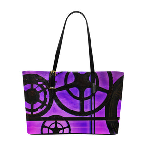 Mechanical Gears  Leather Tote Bag