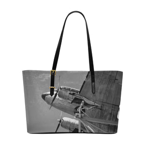 Airplane  Leather Tote Bag