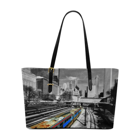 Chicago Train  Leather Tote Bag