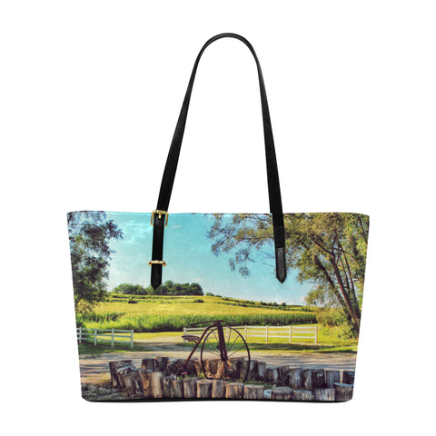 Missouri Country Side  Leather Tote Bag
