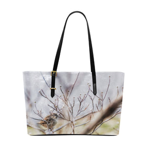 Bird on Branch  Leather Tote Bag