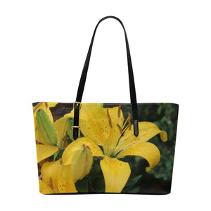 Yellow Lillies Leather Tote Bag