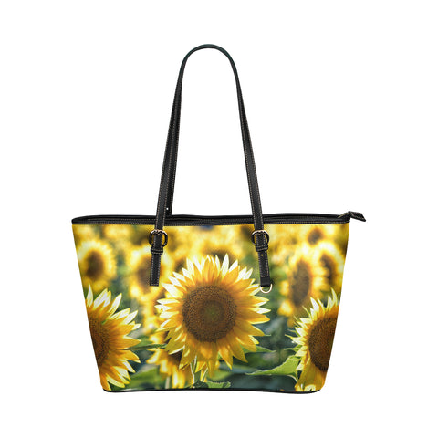 Sunflower Leather Tote Bag