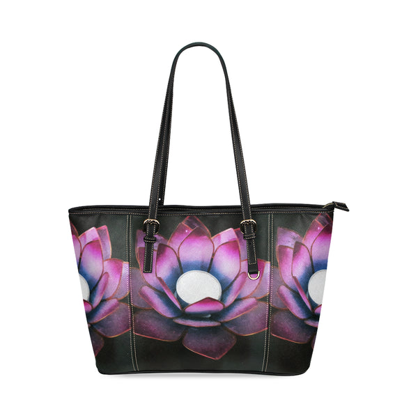 Lotus Leather Tote Bag
