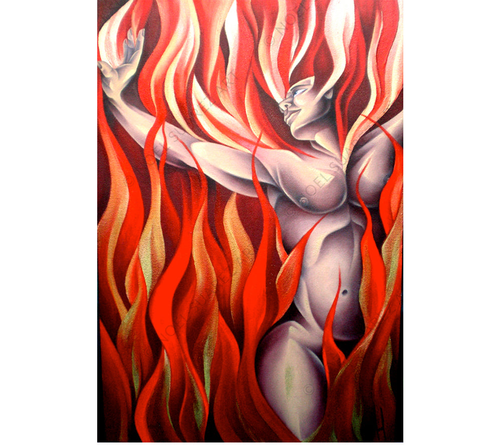 Fire Noel Suarez art deco painting