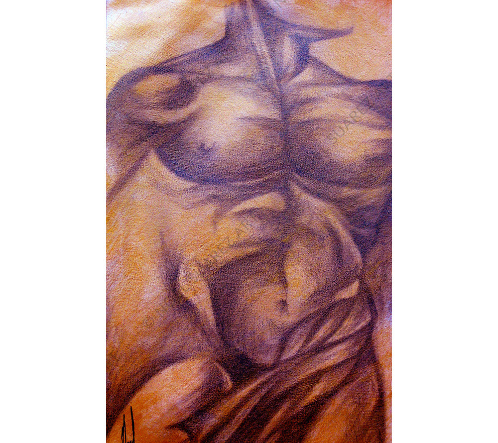Torso Study III - Noel Suarez mixed media painting