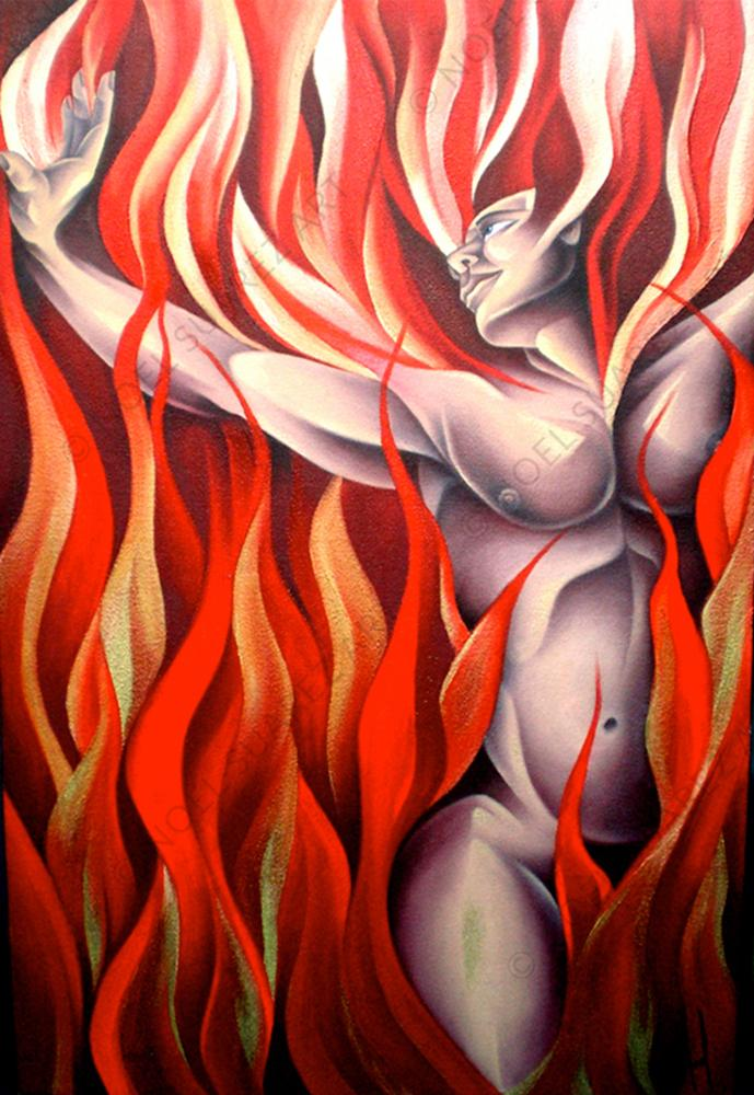"""Fire (The Elements)"" Original Mixed Media Artwork by Miami Artist Noel Suarez"