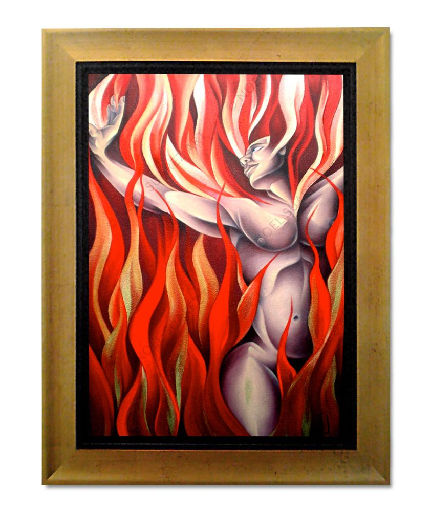 """Fire (The Elements)"" Framed Original Mixed Media Painting (Please Note: Framing options are at the choice of the Artist and may not look like what is pictured here)"