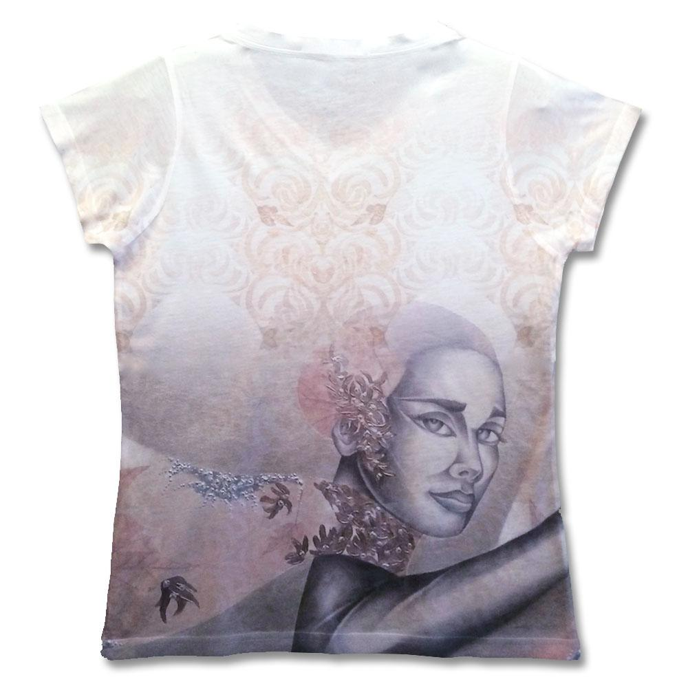 The lighter backside of this stylish fine art shirt by Noel Suarez.