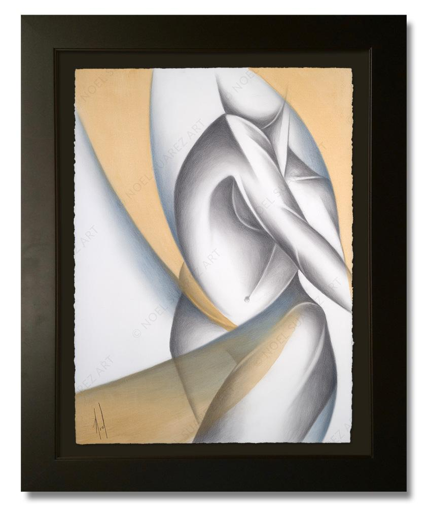 """Siluetas I - Variation 1"" Framed Original Painting (Please Note: Framing options are at the choice of the Artist and may not look like what is pictured here)"