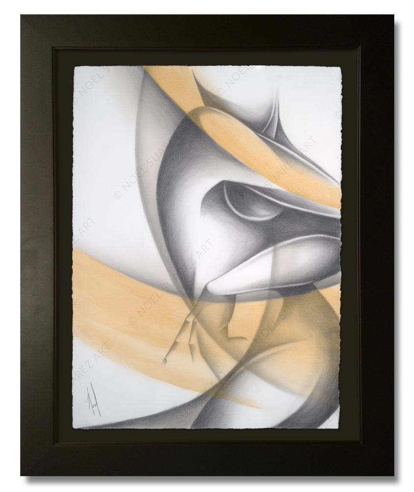 """Siluetas IV - Variation 1"" Framed Original Painting (Please Note: Framing options are at the choice of the Artist and may not look like what is pictured here"