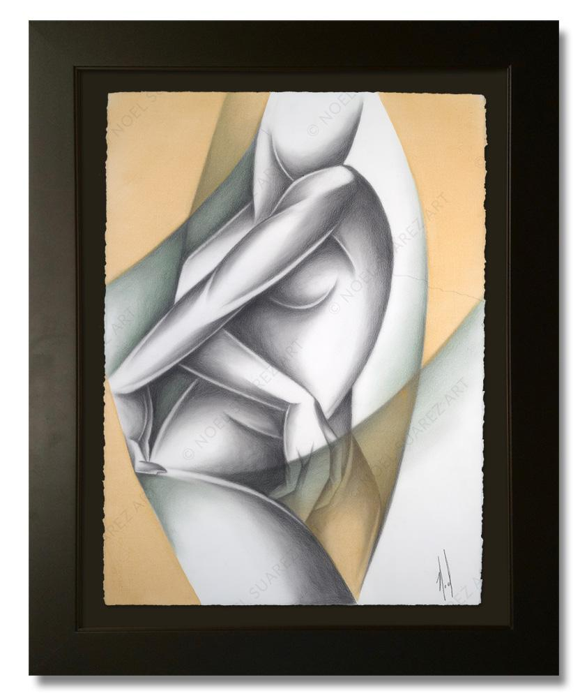 """Siluetas VI"" Framed Original Painting (Please Note: Framing options are at the choice of the Artist and may not look like what is pictured here"