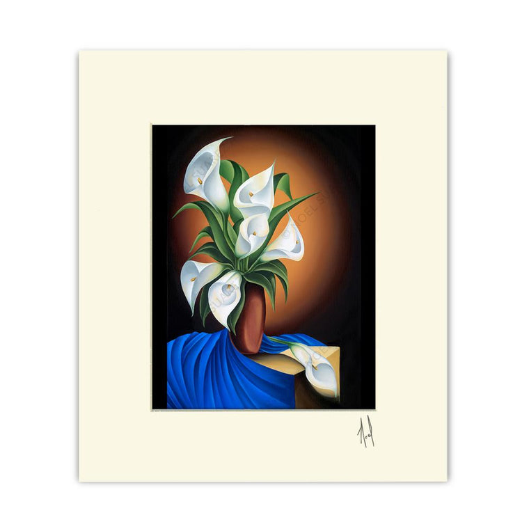 """Still Life with Calas"" Matted Print"