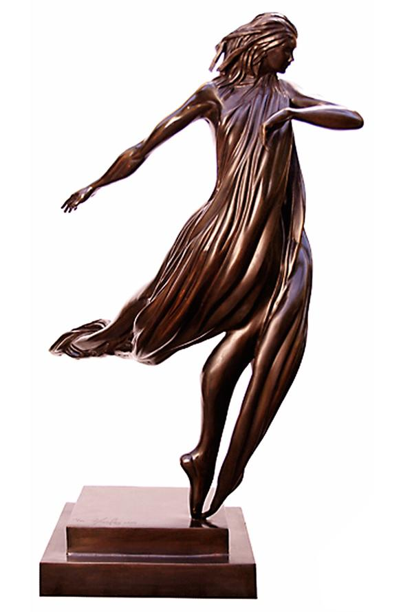 """The Dancer"" - Limited Edition Bronze Sculpture by Miami Artist Noel Suarez featuring a woman dancing, her graceful movement frozen in time."