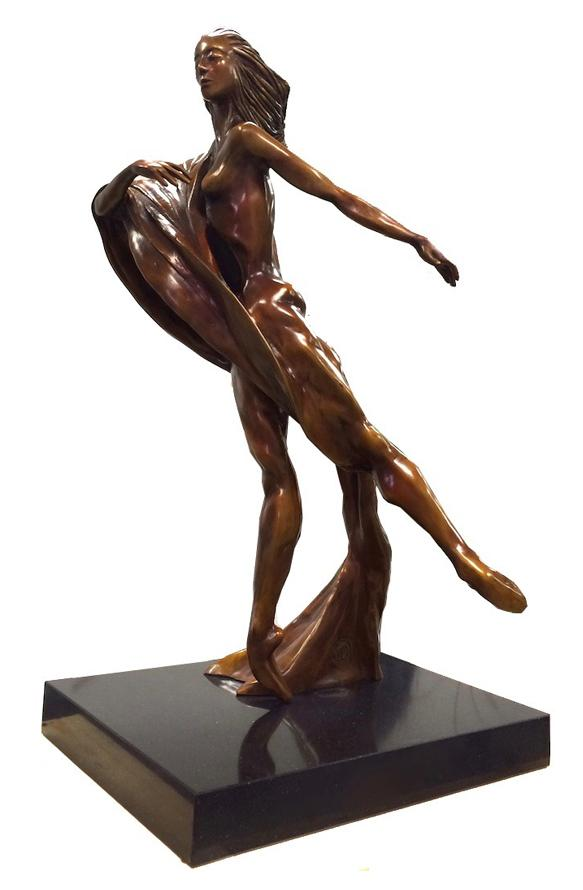 """The Dancer II"" - Limited Edition Bronze Sculpture by Miami Artist Noel Suarez featuring a woman dancing, her graceful movement frozen in time."